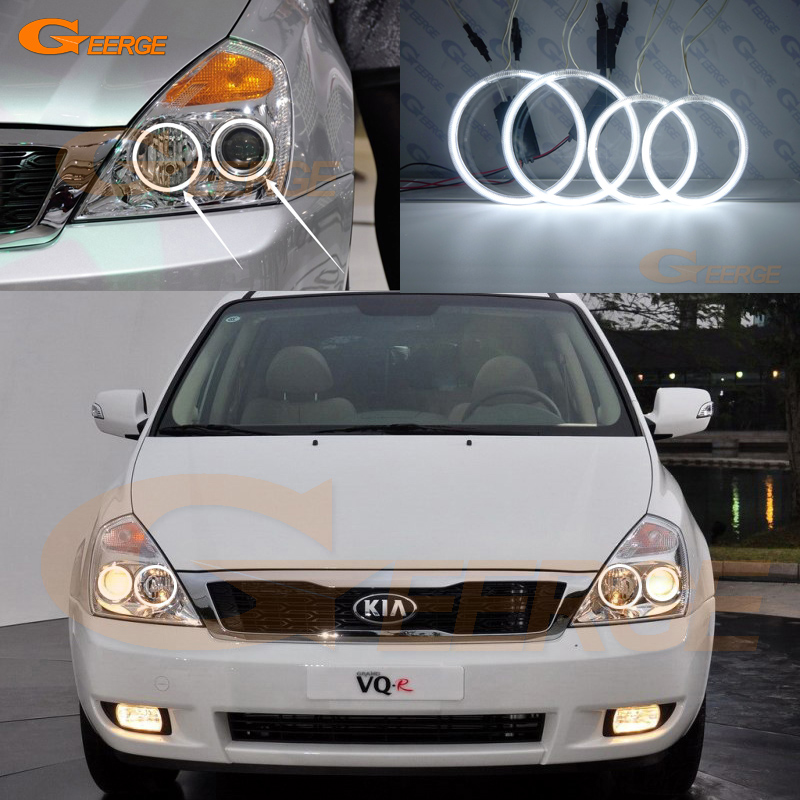 For KIA GRAND CARNIVAL VQ 2006-2013 Excellent Angel Eyes Ultra bright headlight illumination ccfl angel eyes kit Halo Ring<br>