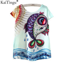 KaiTingu Novelty T Shirt Summer Harajuku Kawaii Cute Fish Animal Panda Print T-shirt Short Sleeve T Shirt Women Tops M L XL Size(China)