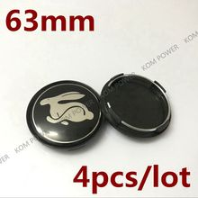 KOM POWER 4PCS 63MM Rabbit Sticker Wheel Center Caps Rabbit Logo Emblem Badge Car-Covers Hub Cap For VW/Golf/GTI