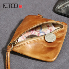 AETOO Retro old square first layer leather purse men leather coin bag female mini bag(China)
