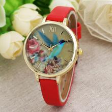 2017 New Blue Hummingbird Women Leather Band Analog Quartz Movement Wrist Watch Simple fashion watch #420717