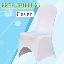50PCS Universal White Stretch Polyester Spandex Lycra Wedding Party Chair Covers for Weddings Event Banquet Hotel Decoration(China)