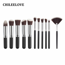 CHILEELOVE 11 Piece Mini Makeup Brush Kit Makeover Tool Beauty Blush Foundation Contour Powder Cosmetics Eye Lips Make Up Brush