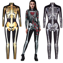 Skull Skeleton Jumpsuit Catsuit Sexy Cosplay Costumes Halloween Women Bodysuit Fancy Dress