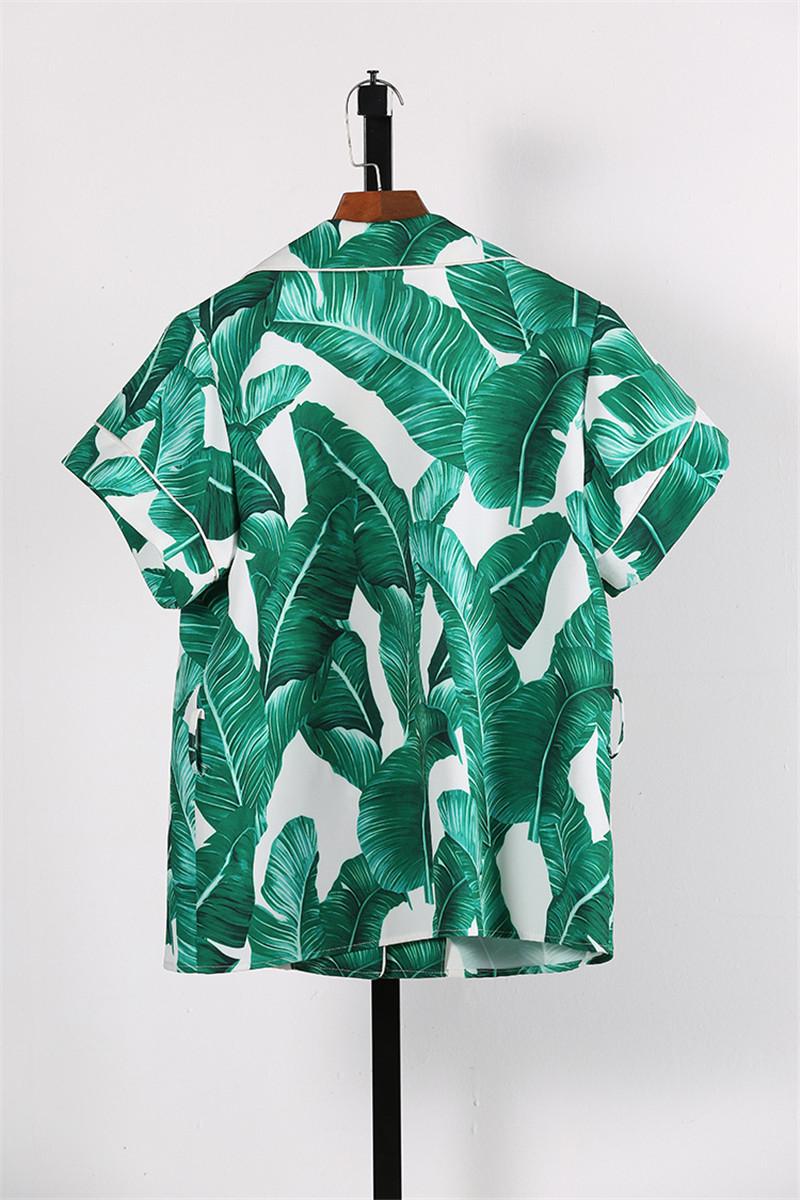 Brand Fashion Two Piece Set Women Runway Suit Fashion Green Leaf Print Dragonfly Beading Shirt + Elastic Waist Pants Sets 13