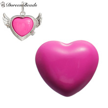 "DoreenBeads Copper Painting Heart Spacer Beads Ball Fit Wish Box Pendants (No Hole), About 25mm(1"") x 22mm( 7/8""), 1 PC"