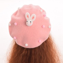 1pc Girls Cute Rabbit Decoration Beret White/Yellow/Pink/Purple Wool Blend Hat