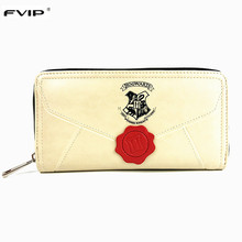 FVIP Hot Sell Harry Potter Long Wallet Women Purse Hogwarts Invitation Letter Wallets Designer Brand Carteira Portefeuille Femme
