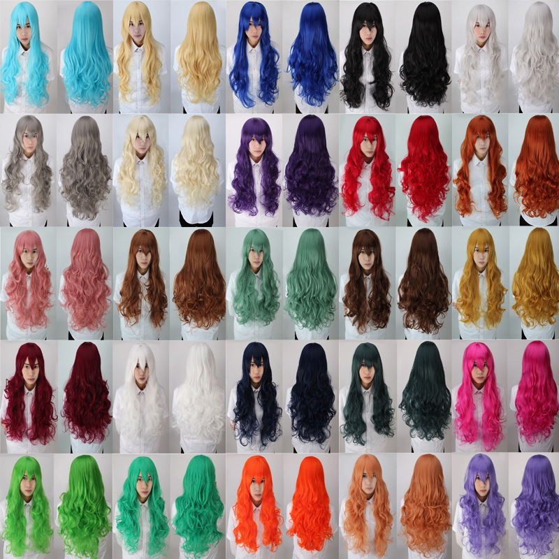 12 Colors 80 Cm Harajuku Anime Cosplay Wigs Costume White Blonde Black Long Curly Wavy Heat Resistant Synthetic Hair Peruca H047<br><br>Aliexpress