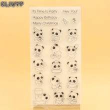 KLJUYP Pandas Transparent Clear Silicone Stamp/Seal for DIY scrapbooking/photo album Decorative clear stamp sheets(China)