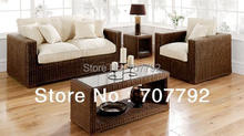 2017 New Products Garden Furniture Patio Chocolate wash Rattan Sofa Set