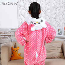 Hello Kitty Pajama Kids Onesie Pink Dot Flnnel Soft Animals Cat Cosplay Costume Party Girl Sister Winter Long Sleeve Sleepwear