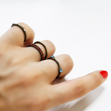 4Pcs/set Womens Girls Boho Gothic Pretty Chic Unique Diamante Finger Rings Set Gift