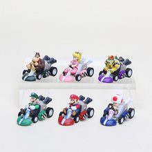 Super Mario Bros Kart Pull Back PVC Action Figures Toy Dolls Classic Toys 6pcs/set(China)