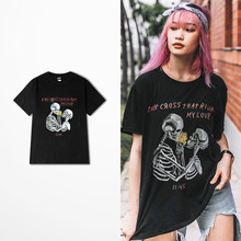 Ulzzang Japanese Harajuku Tide Brand T-shirt Men Hip Hop West Coast Locomotive Rock Skeleton Don't Cross Ha River Print T Shirt(China)