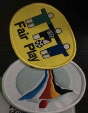 2pcs / lot Euro 2000 Fair Play Football Patch Set Embroidered Iron on Soccer patch(China)