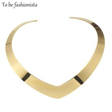 Hot Punk Collar Choker Necklace Neck Jewelry For Women Fashion 100% stainless steel Simple Personality Gold Torques Necklace
