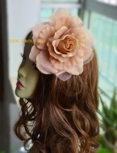 LT PINK 15cm silk flower hair accessory for fascinator sinamay hat.with brooch pin hair clip.