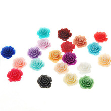 10 Pcs/lot 3D Resin Rose Flower Fit Phone Embellishment Flat Back Resins Scrapbook DIY Miniatures Candy Color 10mm