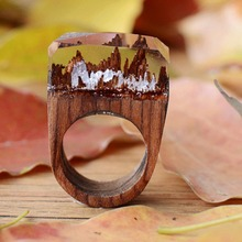 Resin Secret Wood Rings For Women Magic Ring Men Jewelry Clear Deep Rectangle Gift