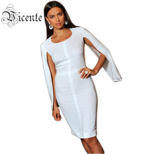 Free Shipping! 2016 A/W Elegant Powerful Butterfly Long Sleeves Bodycon Celebrity Fashion Party Bandage Dress