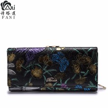 FANI Women Wallets Fashion Flower Print Genuine Leather Wallets luxury Womens Wallets And Purses Multi-function Hasp Purse(China)