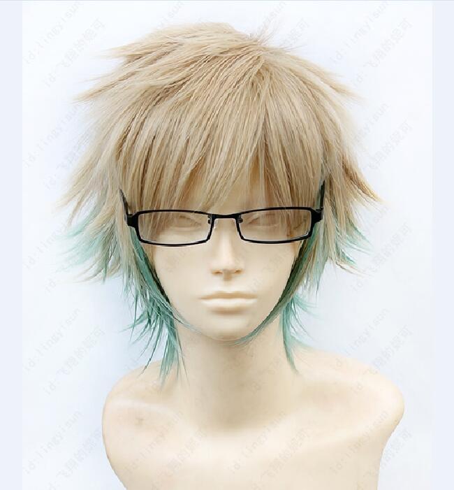 Free Shipping Amnesia Kent Short Blonde Mixed Green Cosplay Hair Wig<br><br>Aliexpress