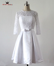 Custom Made A-line vestidos de noiva White/Ivory Short Lace Wedding Dresses Bridal Gowns Real Sample Tulle Lace Knee Length WS26