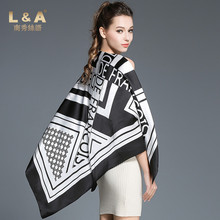 L&A 100% Mulbery Silk Crepe Satin Plain Big Square Scarf 90x90cm Digital Print Pashmina Sunscreen Seabeach Scarves S3206