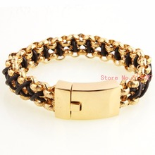New Arrival Punk Style Gifts Mens Jewelry Gold Stainless Steel Bracelets Fashion Classic Male Hand Chain Accessories Wholesale