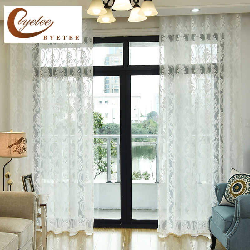 [byetee] European Window Curtain Balcony Living Room Tulle Sheer Kitchen Organza Luxury Curtains Doors For Bedroom Yarn Drapes