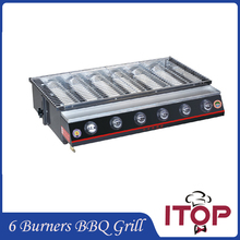 6 Burners Gas BBQ Grill Stainless Steel Barbecue Stove Outdoor Adjustable Height Fast Delivery Smokeless