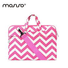 MOSISO Brand Chevron 11 12 13 14 15inch Laptop Bag For Women Canvas Notebook Shoulder Bags Case For Macbook Air/Pro 13 15 Asus