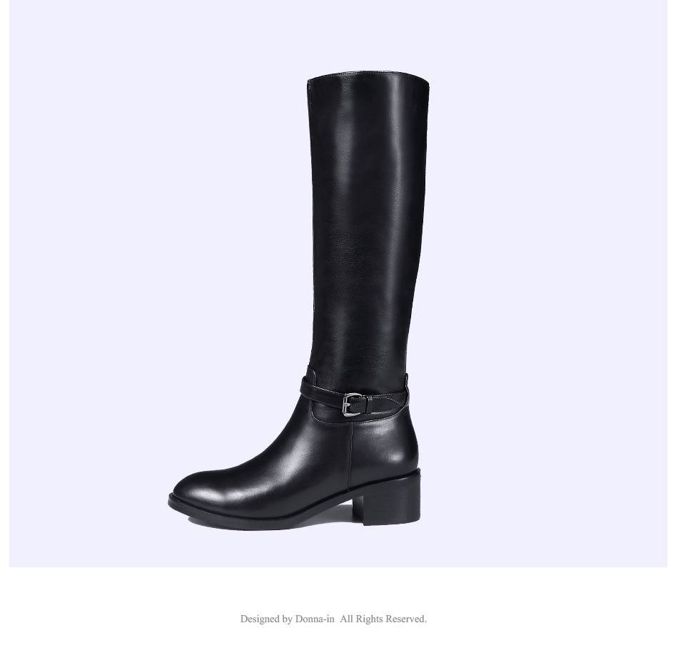 Donna-in Winter Boots Women Fashion Fur Warm Boots New Knee High Boots Real Leather Women Shoes Round Toe Heel Black Ladies 2018 (9)