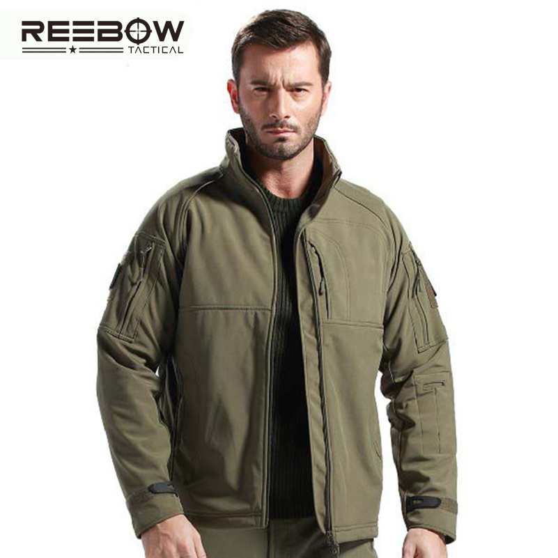 REEBOW TACTICAL Men Winter Softshell Outdoor Hiking Fleece Jacket  Autumn Military Officer Coat Windproof Thermal Outerwear<br>