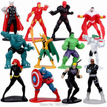 12pcs/lot 5cm Avengers SuperHeroes PVC Action Figures Marvel Super Heroes Hulk Thor Anime Figure Figurines Kids Toys for Boys