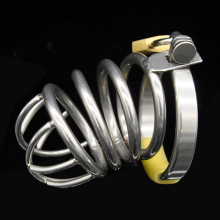 Buy High quality stainless steel male chastity device men penis bondage lock cock ring penis cage adult sex toys chastity cages