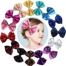 15pcs 4 inches Boutique Hair Bling Sparkly Sequins Nylon Mesh Ribbon Headbands for Party Girls Kids Children Alligator Hair Clip(China)