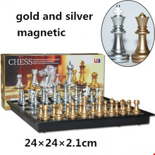 New U3  magnetic  gold and silver folding chess game