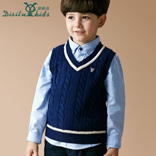 Kids vest child pure cotton kintted sweater vest for spring autumn waistcoat baby boys warm outwear clothes for 3-13 years old(China)