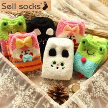 WD2060 New super soft velvet coral animal series thicker floor socks half of cashmere socks wholesale 6 pairs cartoon