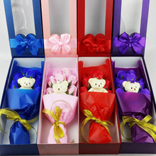 2017 New Mother's Day Gift 9Pcs/Box Rose Soap Flower with Little Bear Gift Box Romantic Scented Bath Soap Rose Soap Flowers(China)