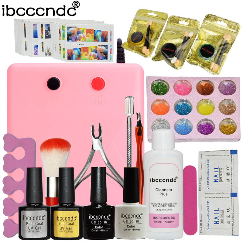 Nail Art Set 36W UV Lamp 2 Colors Gel Nail Polish Base Top Coat Kit with Remover Mirror Powder 12 Colors Glitter Manicure Tools <br>