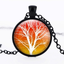 fashion 2016 pattern glass cabochon necklace Tree of Life Tree tree black glass tile necklace, Tree of Life pendant glass HZ1