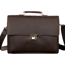 Classic Vintage Genuine Leather Business Briefcase Men's Handbag Messenger Bags 14 inch Laptop Computer Shoulder Bag(China)