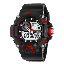 new Brand ALIKE  MEN 50M Water Resistant Quartz & Electronic Dual Movement Sport diving Watch with Calendar & Alarm Clock
