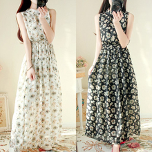 Women's Floral Print Long Dress 2017 Summer Plus Size Chiffon Maxi Dress Elegant Pleated Casual Dress Boho Party Dresses Vestido(China)