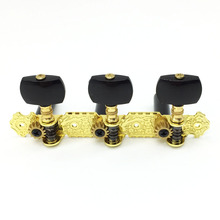 (Short) Alice Classic Guitar Tuning Pegs Tuners Machine Head - Gold Plated Board Black Peg(China)