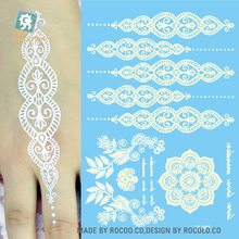 LS-607e/Latest 21*15cm Big Tattoo Sticker Hanna Female White Lace Bride Temporary Flash Tattoo Body  Indian Mandala Tatoos