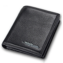 Black Men Wallets RFID Blocking Bifold Genuine Leather Purse Cowhide Business Luxury Brand Male Card Holder Money Bag(China)